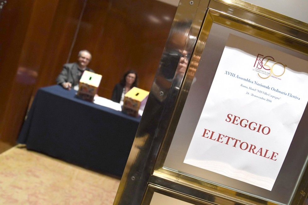 Roma, 24-26 novembre 2016: Federazione Italiana Settimanali Cattolici, XVIII assemblea elettiva nel 50° anniversario di fondazione - seggio elettorale